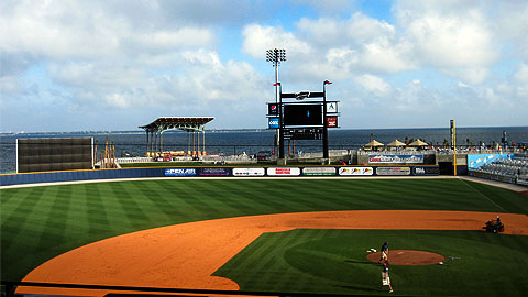 Pensacola's stadium offers fans a picturesque view of the bay.